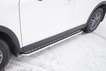 Защита порогов d42 с листом усиленная Mazda CX-5 (2017)