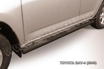 Защита порогов d76 с проступями черная Toyota RAV4 (2009)