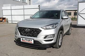 Защита переднего бампера d57 черная Hyundai Tucson (2018)