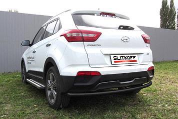 Защита заднего бампера d57 радиусная черная Hyundai CRETA 4WD 2016