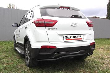 """Защита заднего бампера d57 """"скоба"""" черная Hyundai CRETA 4WD 2016"""