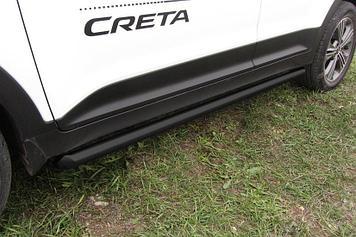 Защита порогов d57 труба черная Hyundai CRETA 4WD 2016