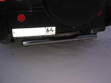 Защита заднего бампера d76 с проступью черная Chery Tiggo