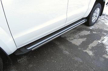Пороги алюминиевые Luxe Black 2000 черные Volkswagen Amarok (2016)