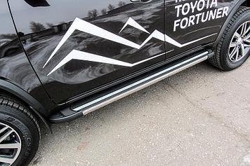 Пороги алюминиевые Luxe Black 1800 черные Toyota Fortuner (2017)