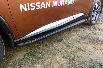 Пороги алюминиевые Optima Black 1800 черные Nissan Murano (2016)