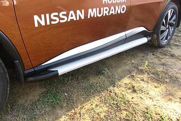 Пороги алюминиевые Optima Silver 1800 серебристые Nissan Murano (2016)