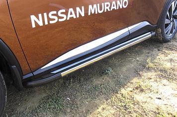 Пороги алюминиевые Luxe Black 1800 черные Nissan Murano (2016)