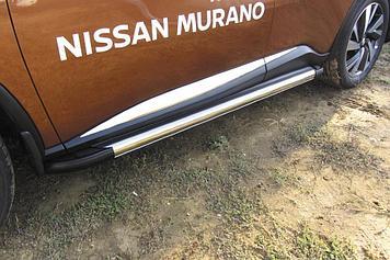 Пороги алюминиевые Luxe Silver 1800 серебристые Nissan Murano (2016)