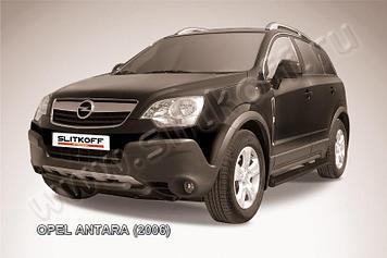 Защита переднего бампера d57+d57 двойная черная Opel Antara
