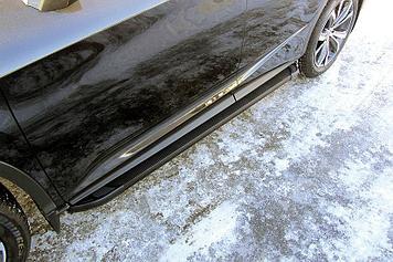 Пороги алюминиевые Optima Black 1800 черные Lexus RX-350 (2015)