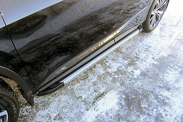 Пороги алюминиевые Luxe Silver 1800 серебристые Lexus RX-350 (2015)