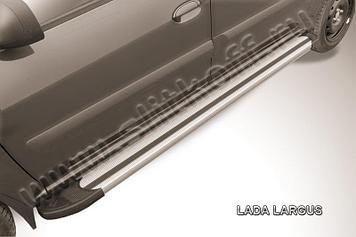 "Пороги алюминиевые ""Luxe Silver"" Lada Largus"