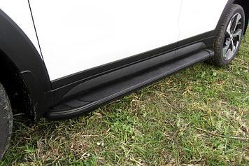 Пороги алюминиевые Optima Black 1700 черные на Hyundai Tucson 4WD (2015)