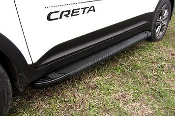 Пороги алюминиевые Optima Black 1700 черные Hyundai CRETA 4WD 2016