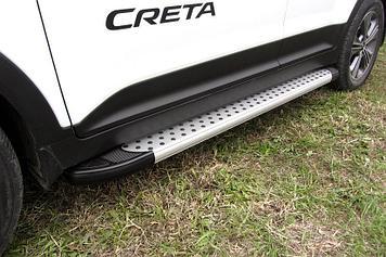Пороги алюминиевые Standart Silver 1700 серебристые Hyundai CRETA 4WD 2016