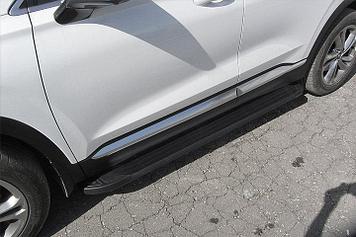 """Пороги алюминиевые """"Optima Black"""" 1800 черные на Hyundai SANTA-FE (2018)"""