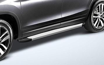 Пороги алюминиевые «Optima Silver» 1800 серебристые на Honda Pilot 2016