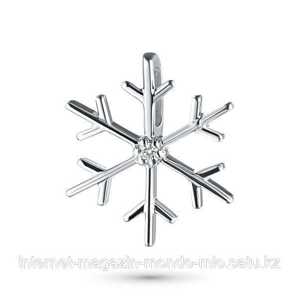 """Подвеска """"Снежинка"""" из серебра с бриллиантом"""