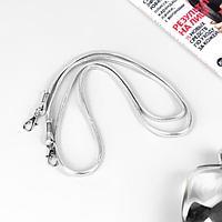 Ручка-шнурок для сумки, с карабинами, 120 × 0,6 см, цвет серебряный