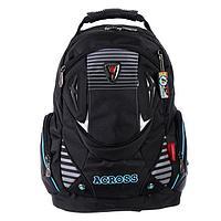 Рюкзак молодежный эргоном.спинка Across AC16 45*30*18 мал, чёрный/голубой 20-AC16-072