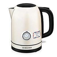 Чайник электрический BRAYER BR1005YE, металл, 1.7 л, 2150 Вт, термометр, бежевый