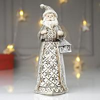 Сувенир полистоун 'Дед Мороз в серой шубе, с фонариком' 19,5х7х7,5 см