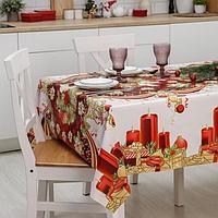 Клеёнка столовая на ткани Доляна 'Новогодняя сказка', рулон 20 метров, ширина 137 см