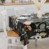 Клеёнка столовая на ткани Доляна 'Я люблю кофе', рулон 20 метров, ширина 137 см