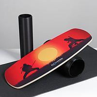 """Доска балансировочная балансборд с ковриком """"Нинзя"""", с двумя роликами, 74х32 см"""