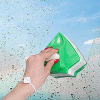 Магнитная щётка для мытья окон с двух сторон, с регулятором толщины 3-22 мм, цвет зелёный