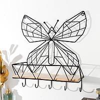 Крючки декоративные металл с полочкой 'Бабочка' 36,5х10х31,5 см