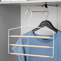 Вешалка для брюк и юбок SAVANNA Wood, 3 перекладины, 37x32x1,1 см, цвет белый