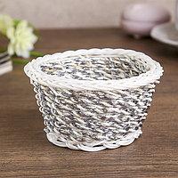 Корзина декоративная мини пластик 'Серебро' 5х10х8 см