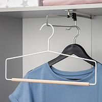 Вешалка для брюк и юбок SAVANNA Wood, 1 перекладина, 37x22x1,5 см, цвет белый