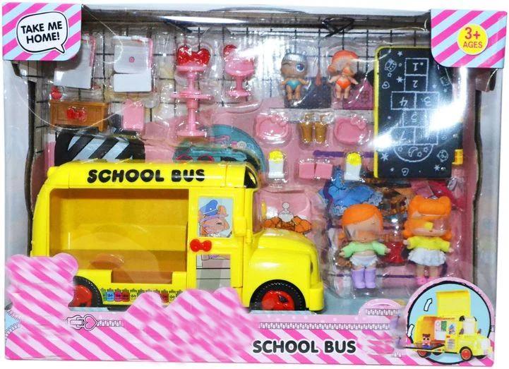 K5624  Желтый школьный автобус + 4 маленькие куклы 39*27см
