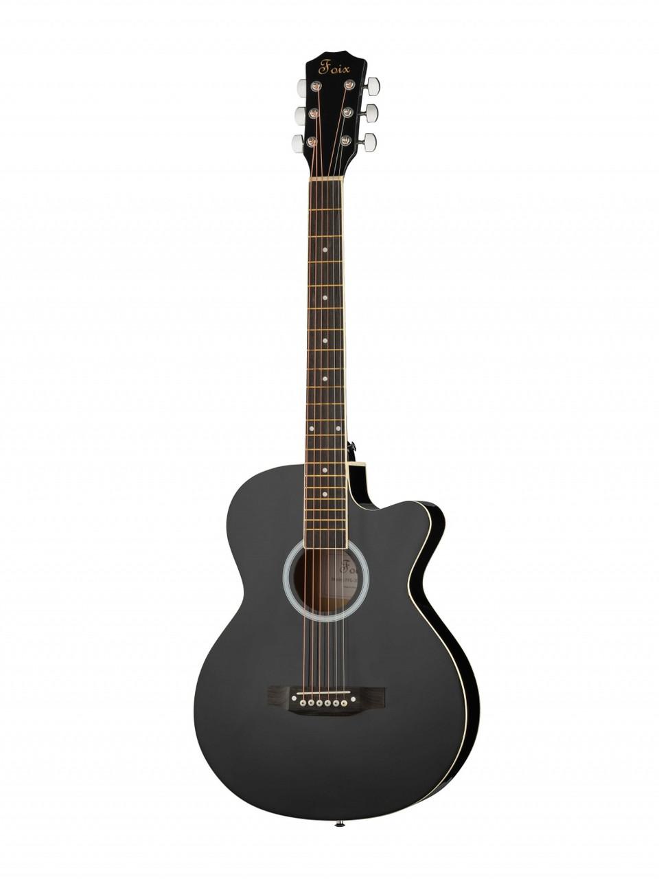 Акустическая гитара, черная, с вырезом Foix FFG-2040C-BK