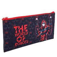 Пенал мягкий, 1 отделение, плоский, 120 х 220 мм, «Оникс», ПМП 17-20, «Робот красный»