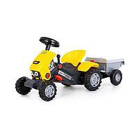 Педальная машина для детей «Turbo-2», с полуприцепом, цвет жёлтый