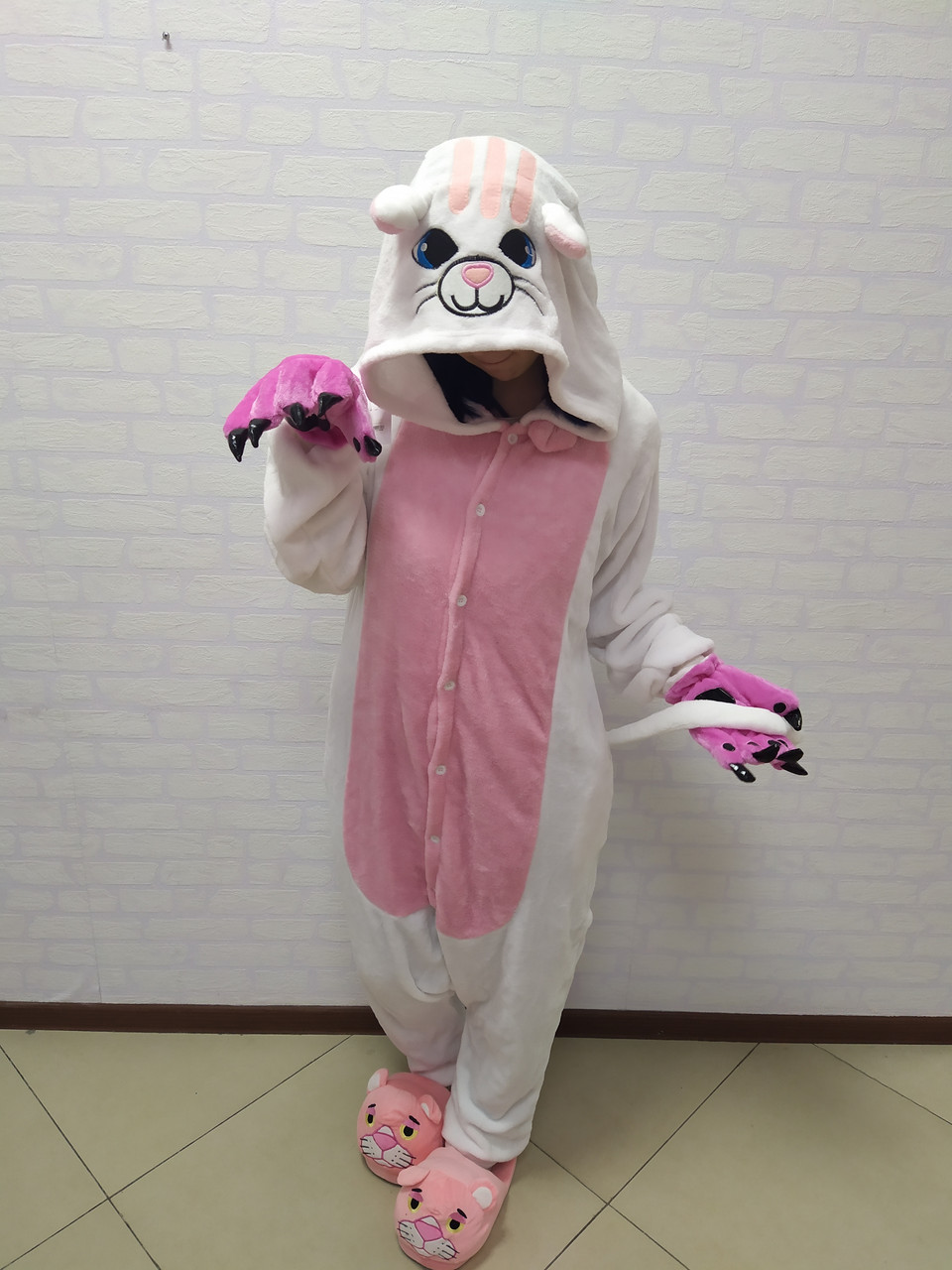 Пижама кигуруми белая кошка