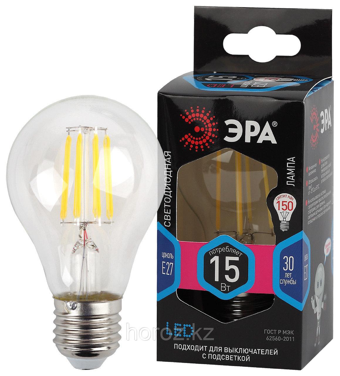 F-LED A60-15W-840-E27 ЭРА (филамент, груша, 15Вт, нейтр., Е27)