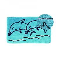Коврик для ванной, голубой/дельфин 50*80 (92) (Аквалиния, Россия)
