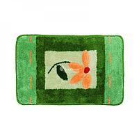 Коврик для ванной, зеленый/оранжевый цветок 50*80 (409) (Аквалиния, Россия)