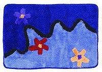 Коврик для ванной, синий/цветы зигзаг 40*60 (411) (Аквалиния, Россия)