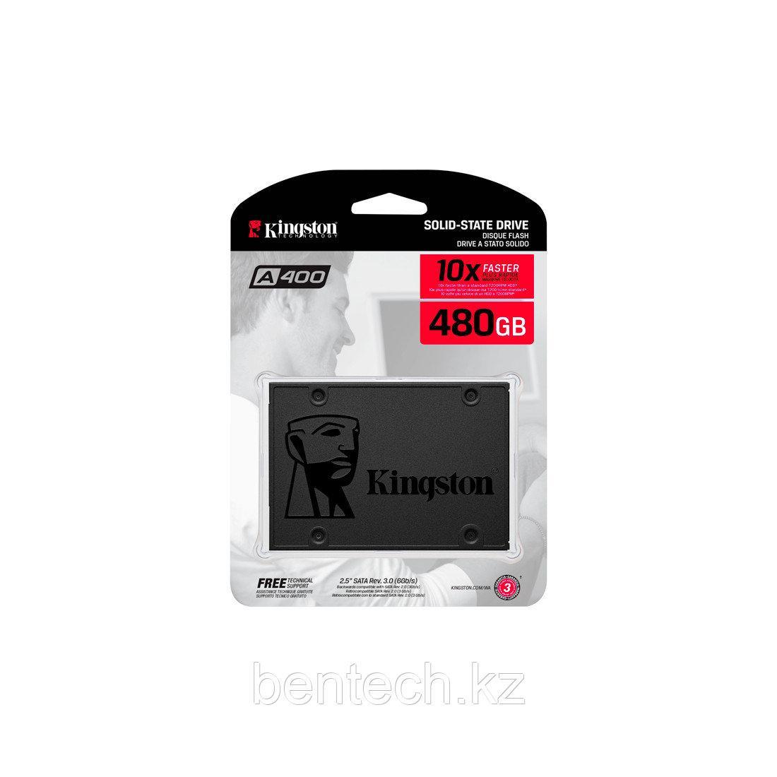 """SSD Kingston A400 SA400S37/480G [480 ГБ, 2.5"""" SATA III, чтение: 500 МБ/с, запись: 450 МБ/с, TLC]"""