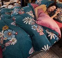 """Плюшевое постельное белье """"Цветы"""", 2-спальное"""