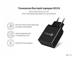 Зарядное устройство UGREEN CD122 QC3.0 USB Fast Charger EU (Black), 70273