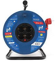 Силовой удлинитель на катушке Power Cube PC20503, 16 А/3,5 кВт,50 м, 4 розетки с/з, красно-синий
