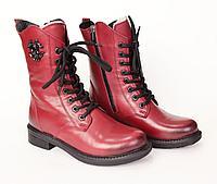 Кожаные женские ботинки, осень.