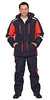 Костюм состоит из куртки и полукомбинезона.Куртка длинная прямого силуэта; с притачной утепленной подкладкой,